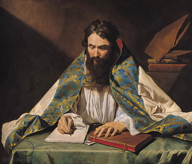 painting of St Ambrose reading silently