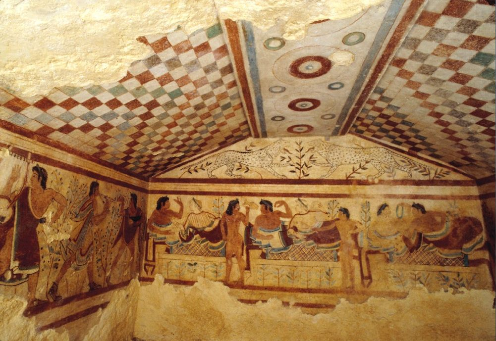 Mural Paintings in the Tomb of the Leopards, Tarquinia ...