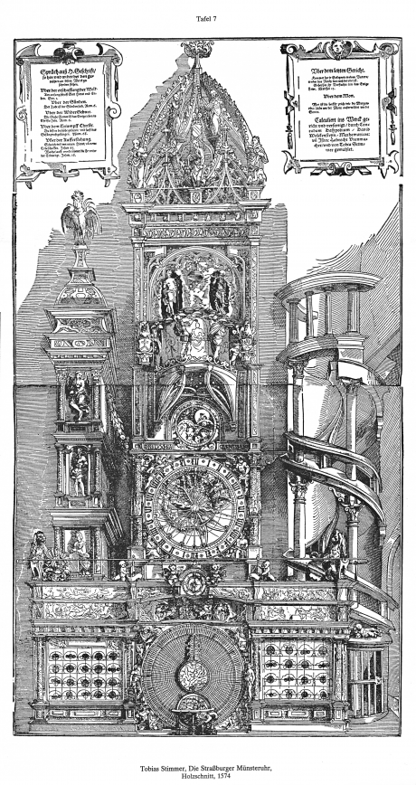 World Death Clock >> Woodcut of the second astronomical clock of Strasbourg Cathedral, English, 1574. | The Core ...