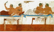 Wall Painting in Greek Tomb. Paestum, Italy