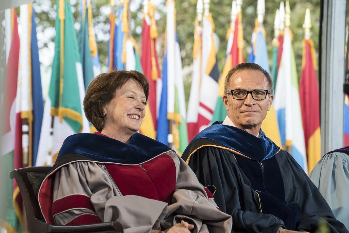 Dean Mary C. Boyce and Dean James J. Valentini