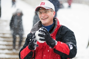 Dean Valentini packing a snowball on Low Plaza