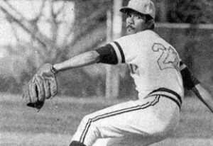Rolando T. Acosta pitching while a Columbia baseball player