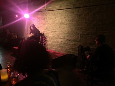 A performance by singer Eva Rubin at Postcrypt Coffeehouse in Fall 2015. Photo: Chloé Durkin CC'15