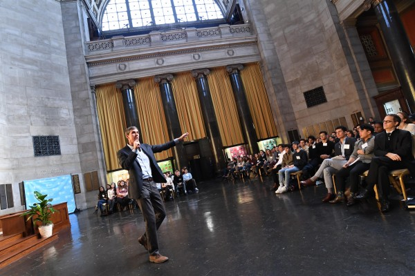 Beto O'Rourke CC'95 speaks to students