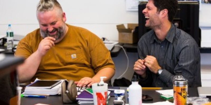 Photo at top: Brian Yorkey '93 (left) and Tom Kitt '96, who won Pulitzer and Tony Awards for Next to Normal, share a laugh as they prepare their latest show, If/Then, for Broadway. The show opens on Sunday, March 30. Photo: Matthew Murphy