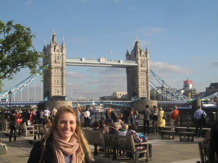 Chloé Durkin CC'15 at London Bridge while studying at University College London. Photo: Courtesy Chloé Durkin CC'15