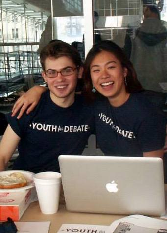 David Maloof CC '17 and Eileen Wong CC '17 at The Youth for Debate Annual Debate and Public Speaking Tournament on May 3, 2014, the capstone project for students to showcase their public speaking skills in competitive debates. Photo: Courtesy Grace Jamieson CC '16