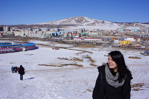 Kening Zhu CC '14 on a trip to Erdenet — the second largest city in Mongolia — known for its mining industry. Photo: Courtesy Kening Zhu CC '14