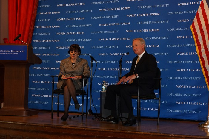 Ester Fuchs, professor of international and public affairs at SIPA, with Rhode Island Governor Lincoln Chafee at an event jointly sponsored by Voting Week, the Department of Policial Science and the World Leaders Forum. Photo: Kevin Gully
