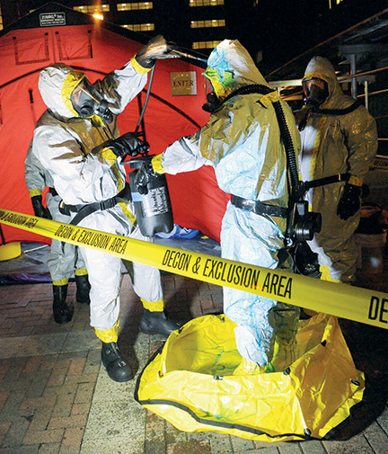 An ebola patient simulation and demonstration by the FDNY at Mt. Sinai Hospital. Photo: FDNY; courtesy Kevin Tyan CC'16