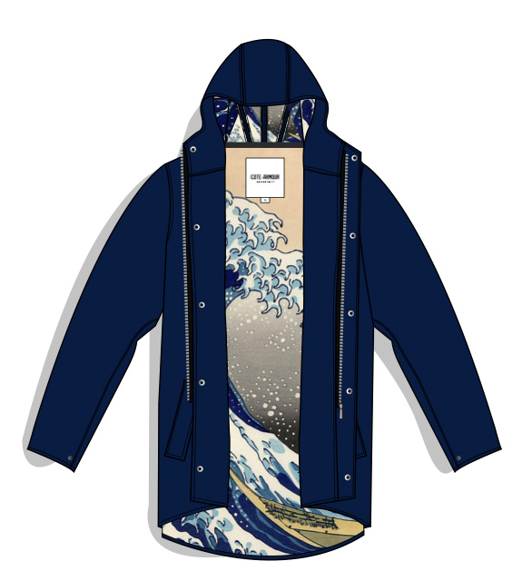 "Academy Of's rain jacket, inspired by Katsushika Hokusai's ""Great Wave off Kanagawa"". Photo: Courtesy Shriya Samavai CC'15"