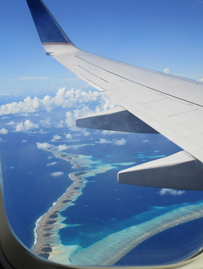 The Marshall Islands as seen from the airplane. Photo: Asha Banerjee CC'17