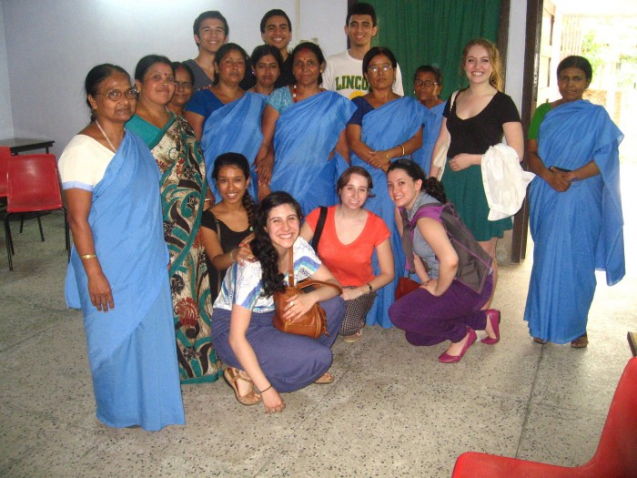 Chloé Durkin CC'15 (second from right) in Siliguri in West Bengal, India, on a program she helped to organize with the support of the Alternative Break Program, with women from a nearby village who had organized a rural women's health clinic for their village. Photo: Courtesy Chloé Durkin CC'15