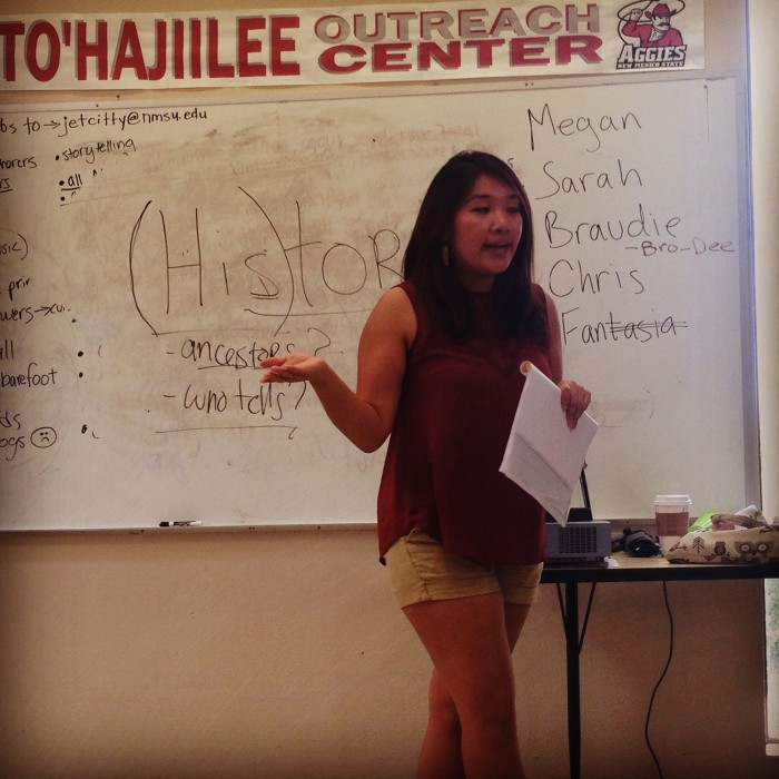 Megan Baker CC'14 leads class discussion at To'hajiilee. Photo: Fantasia Painter CC'13