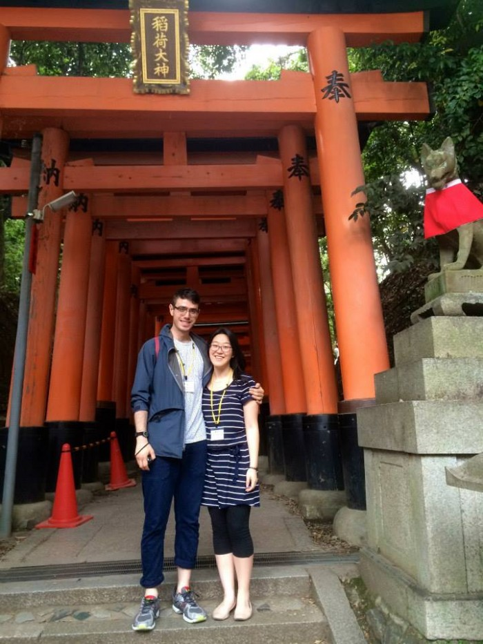 Trevor Menders CC'18 and Janet Jisoo Park CC'16 at the Fushimi Inari Shrine in Kyoto, Japan. Photo: Courtesy Janet Jisoo Park